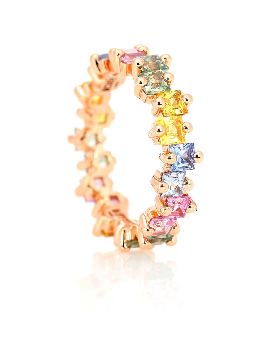 SUZANNE KALAN Pastel Fireworks 18kt rose gold ring with sapphires