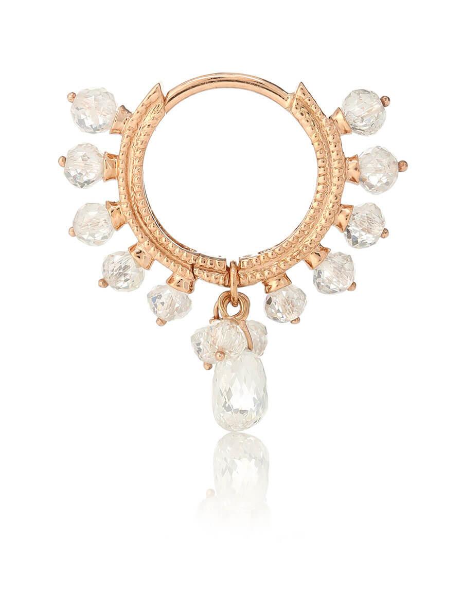 MARIA TASH 18kt rose gold hoop single earring with diamonds