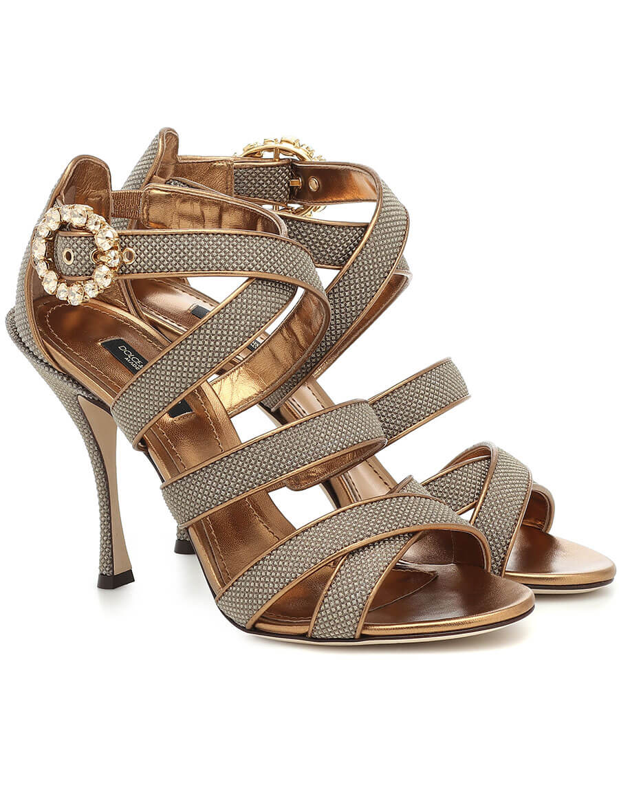 DOLCE & GABBANA Keira leather trimmed sandals