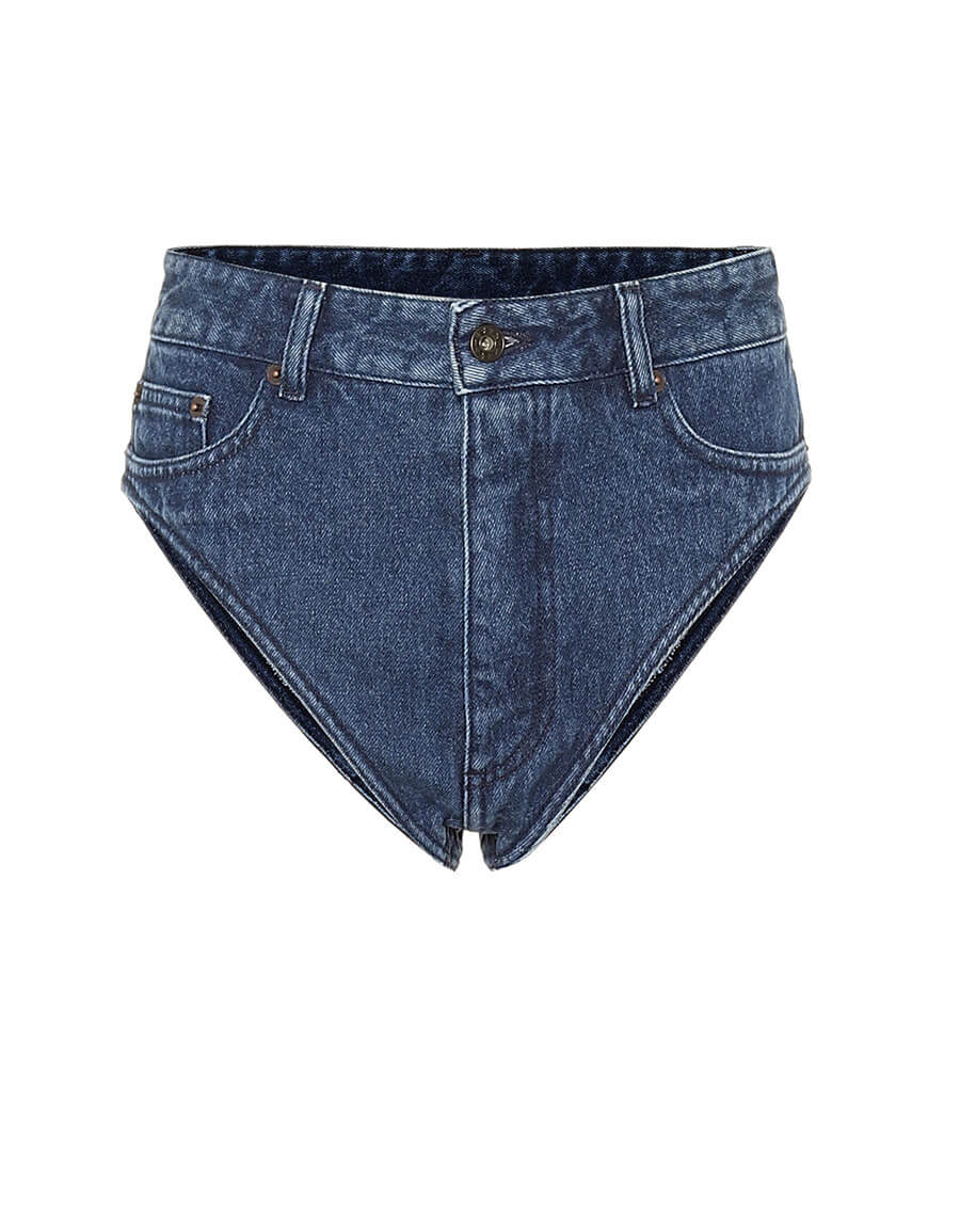 Y/PROJECT Cotton denim high rise shorts