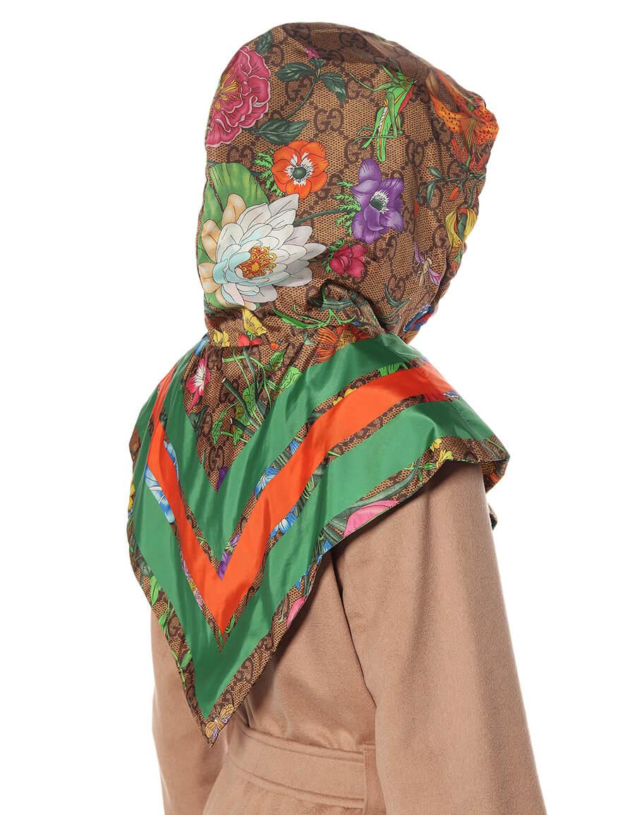 GUCCI GG Flora printed nylon hood