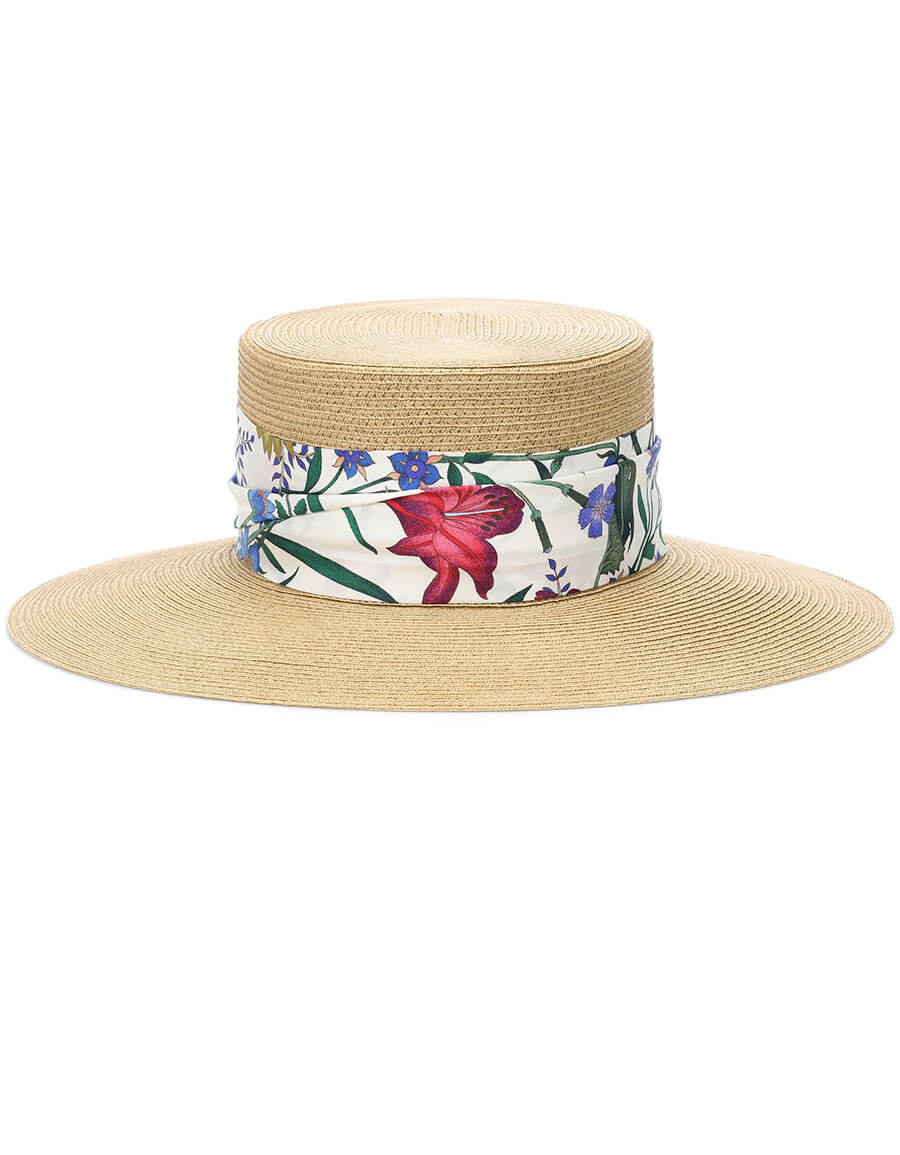 GUCCI Woven hat with New Flora ribbon