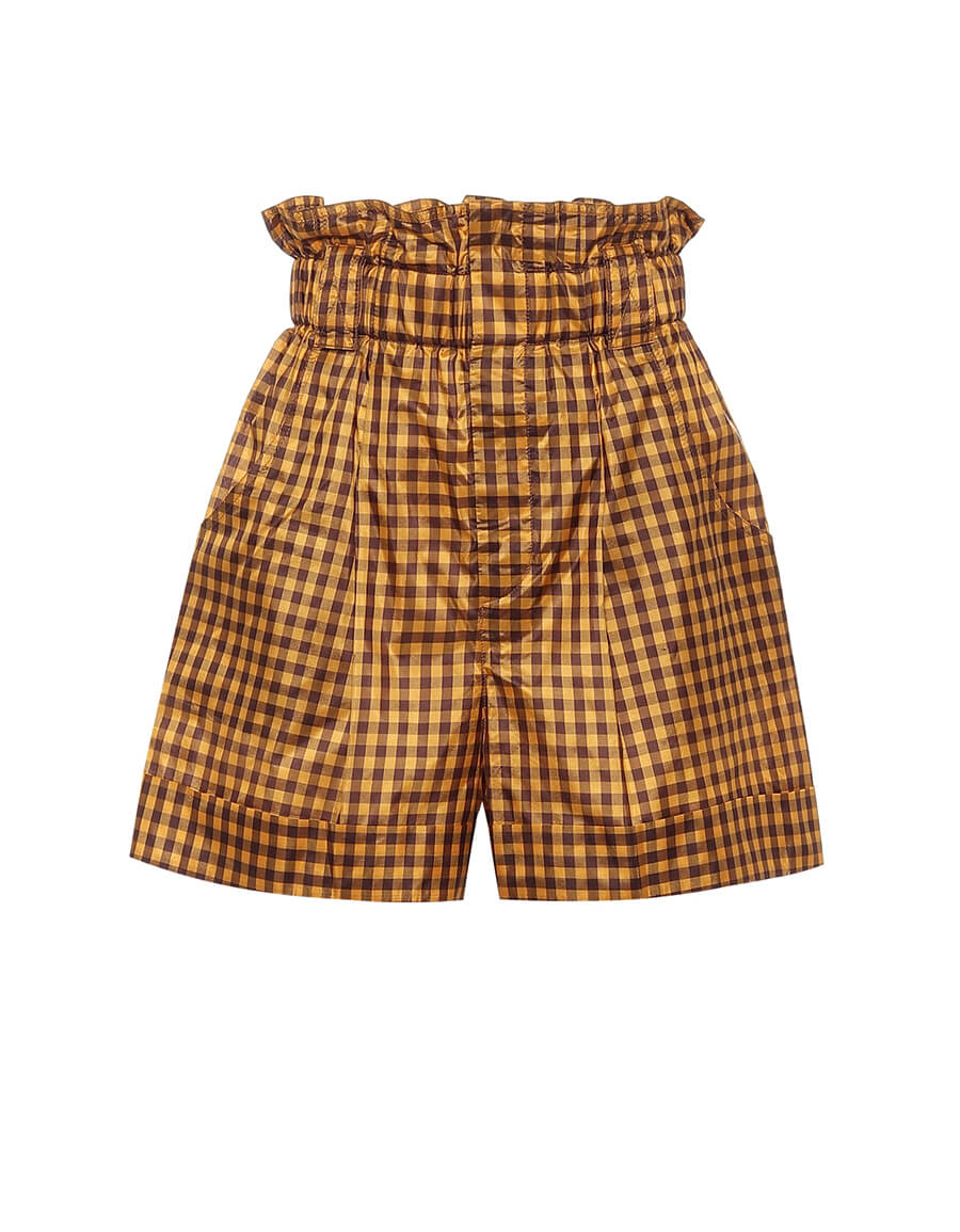 FENDI Checked silk paperbag shorts