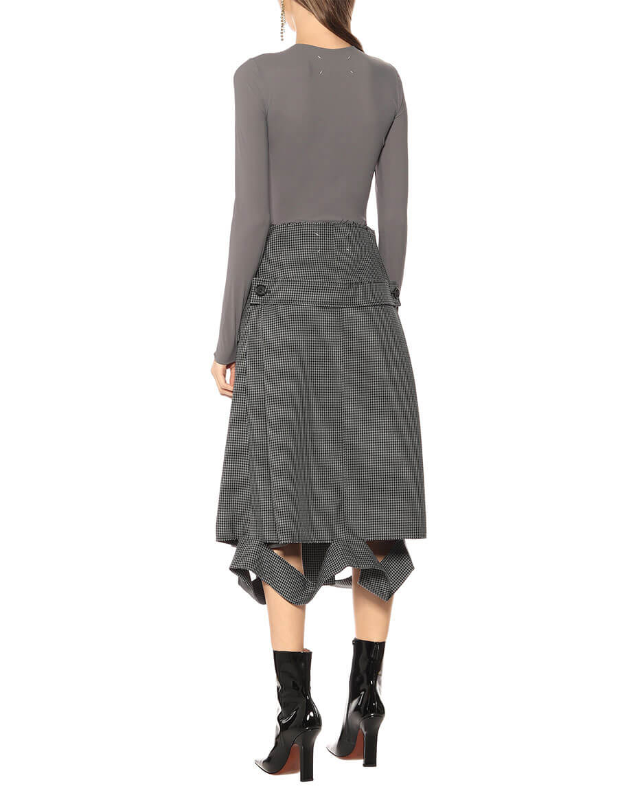 MAISON MARGIELA Deconstructed houndstooth midi skirt