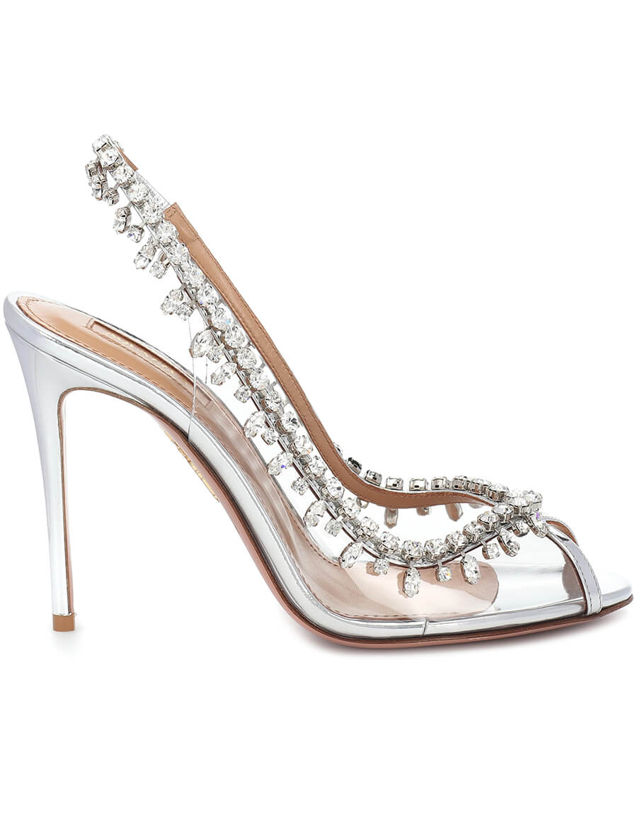 AQUAZZURA Temptation 105 embellished PVC sandals