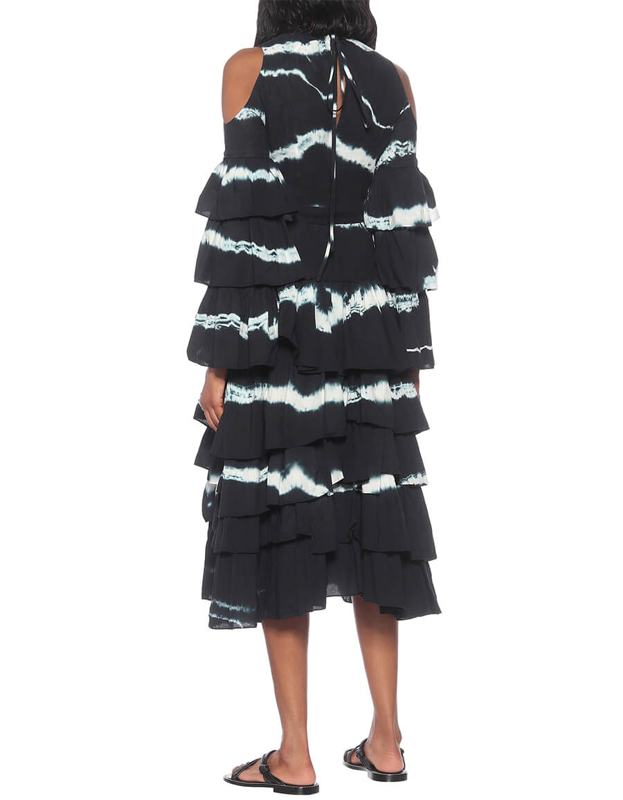 LOEWE Tie dye cotton and linen maxi dress