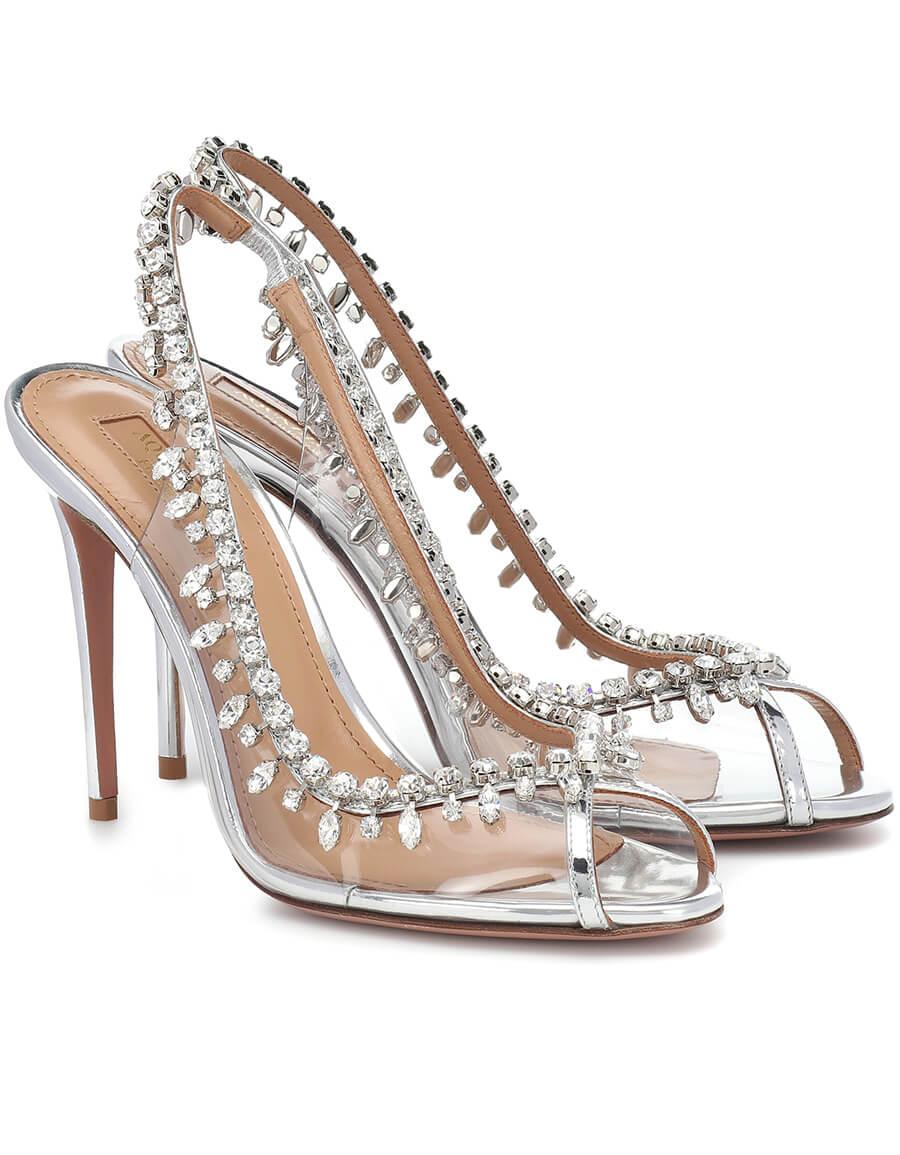 AQUAZZURA Temptation 105 embellished PVC sandals
