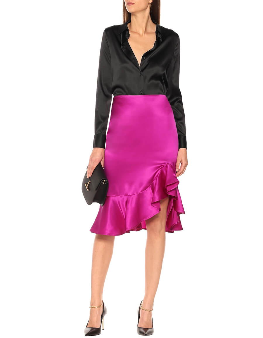 TOM FORD Silk satin midi skirt