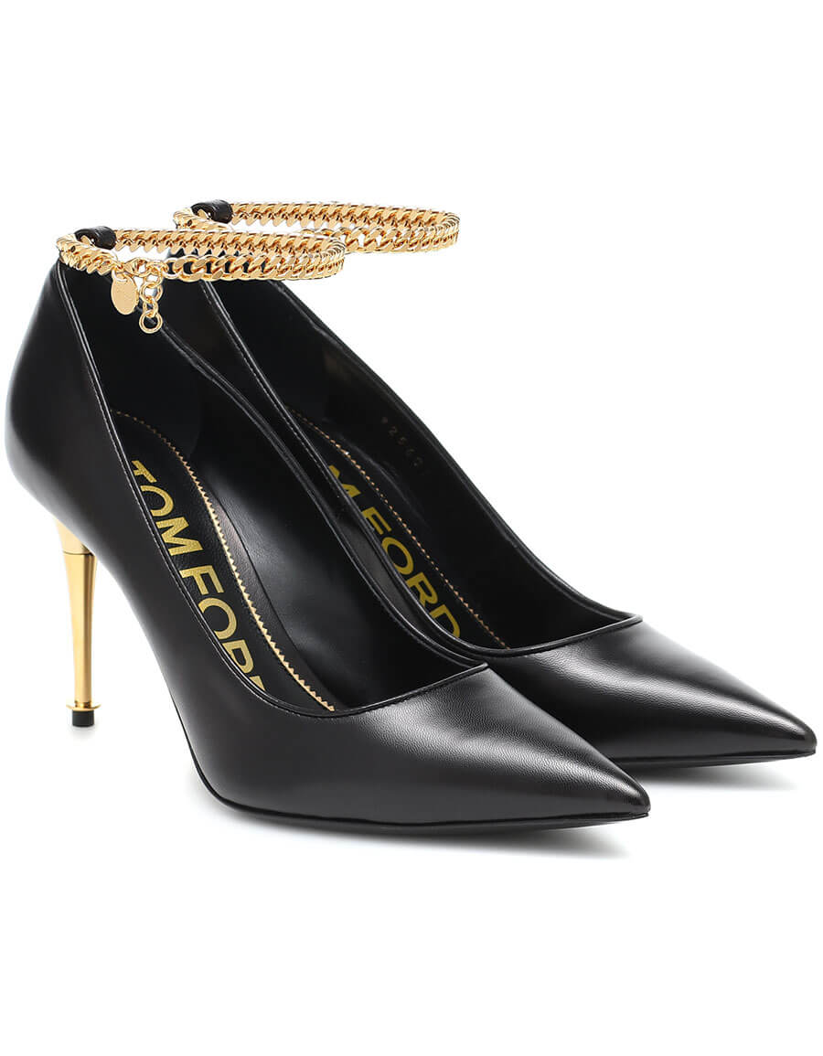 TOM FORD Chain trimmed leather pumps