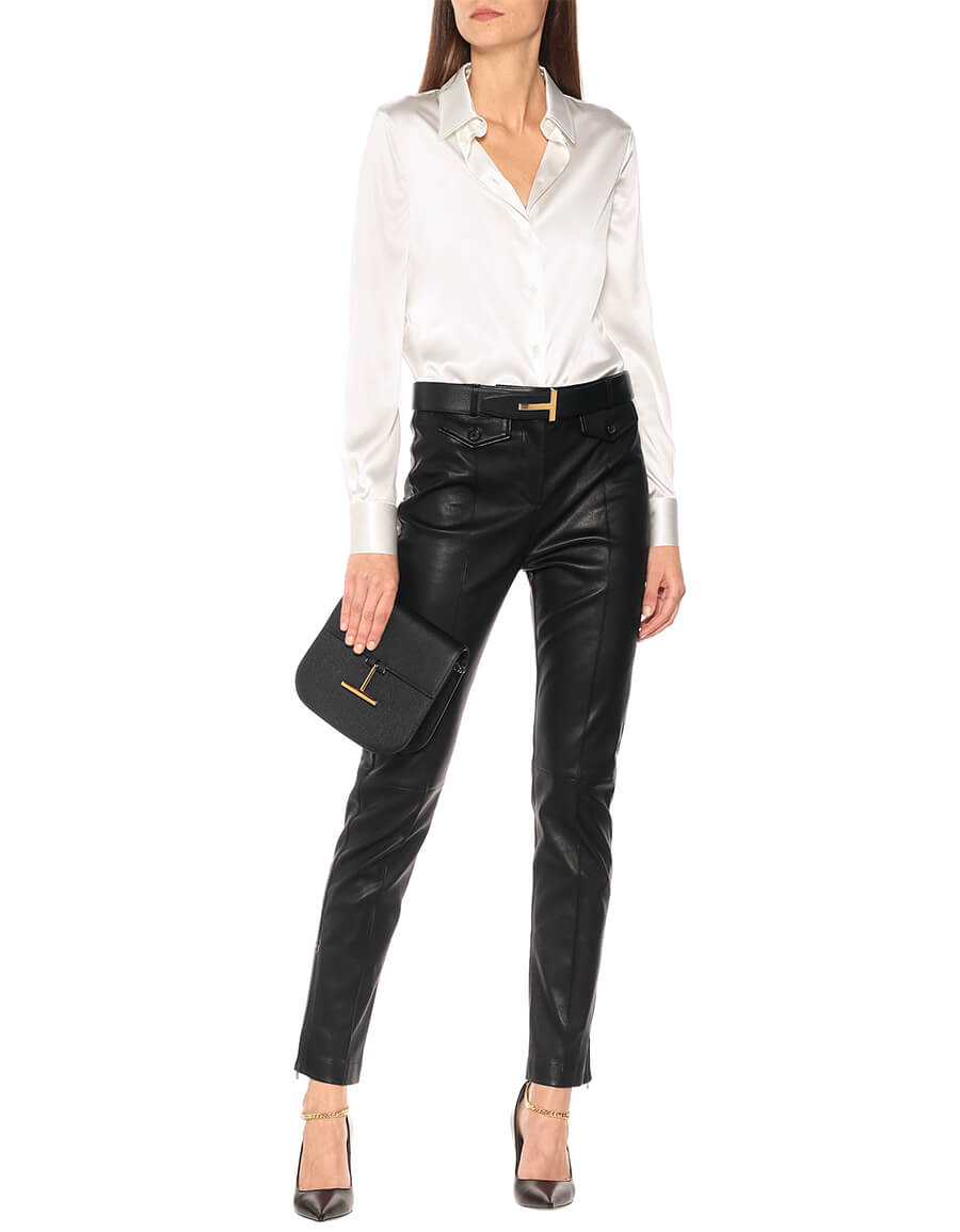 TOM FORD Leather high rise slim pants