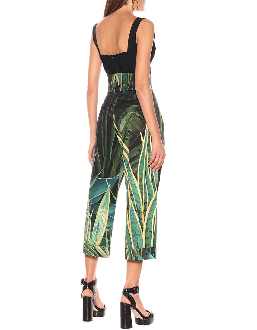 DOLCE & GABBANA Printed high rise stretch cotton pants
