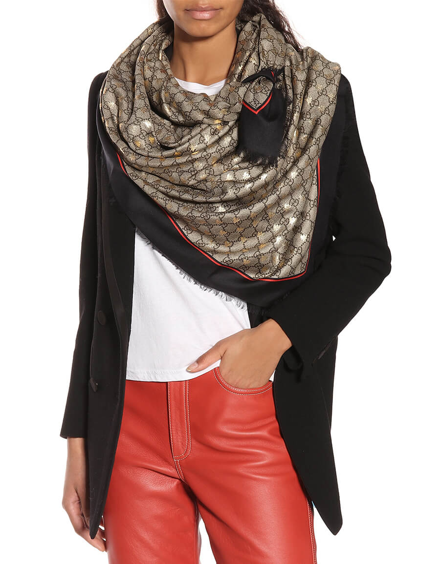 GUCCI GG silk blend scarf