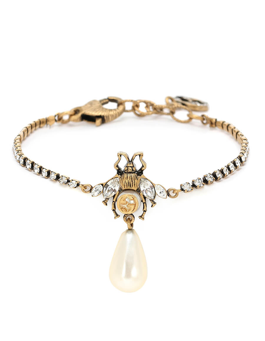 GUCCI Bee crystal bracelet with faux pearl