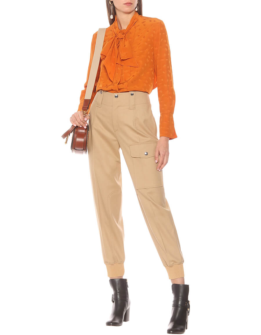 CHLOÉ High rise stretch wool pants