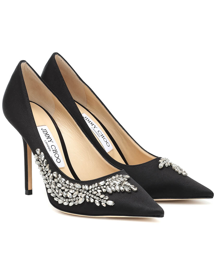 JIMMY CHOO Love 100 embellished satin pumps