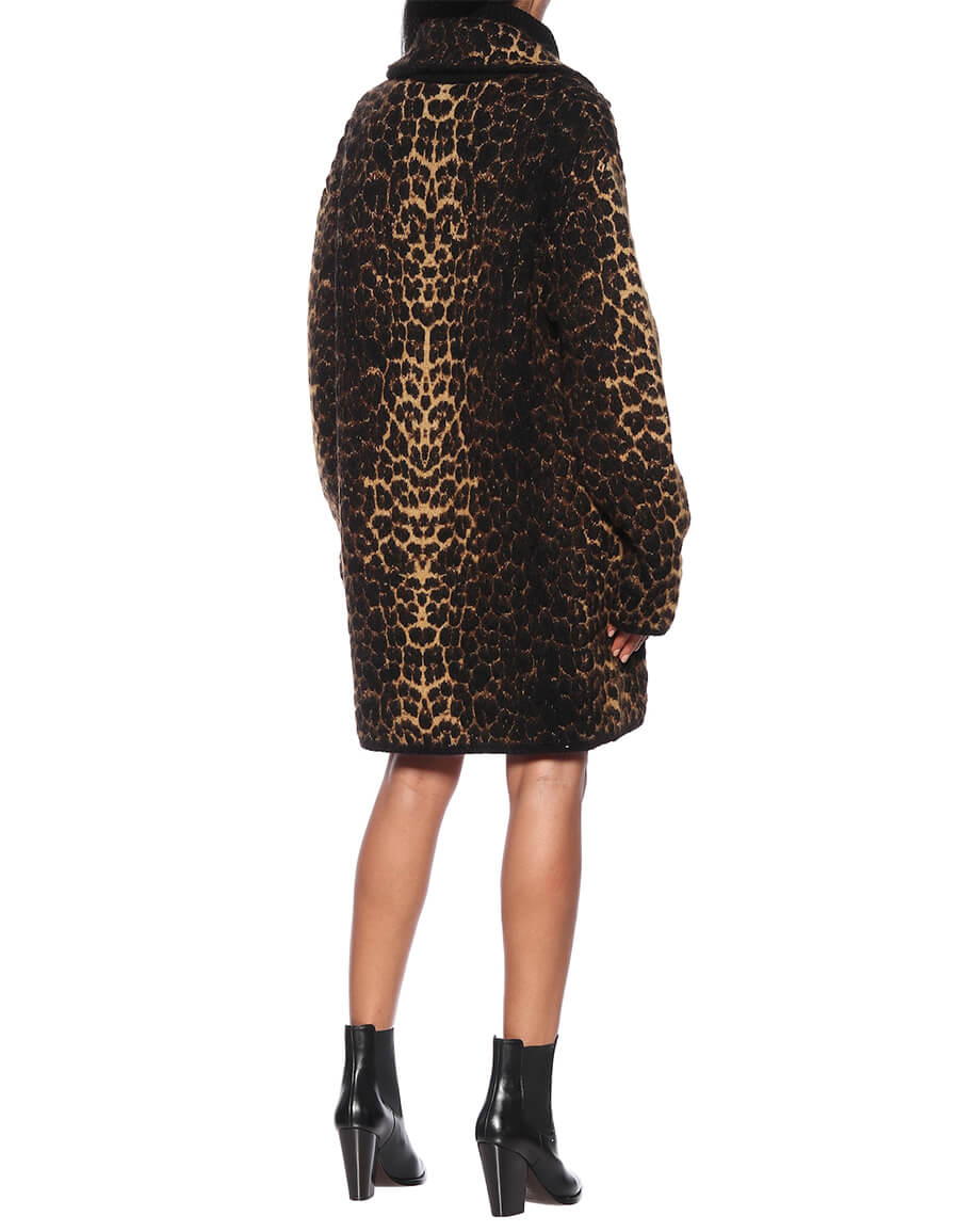 SAINT LAURENT Leopard print wool blend coat