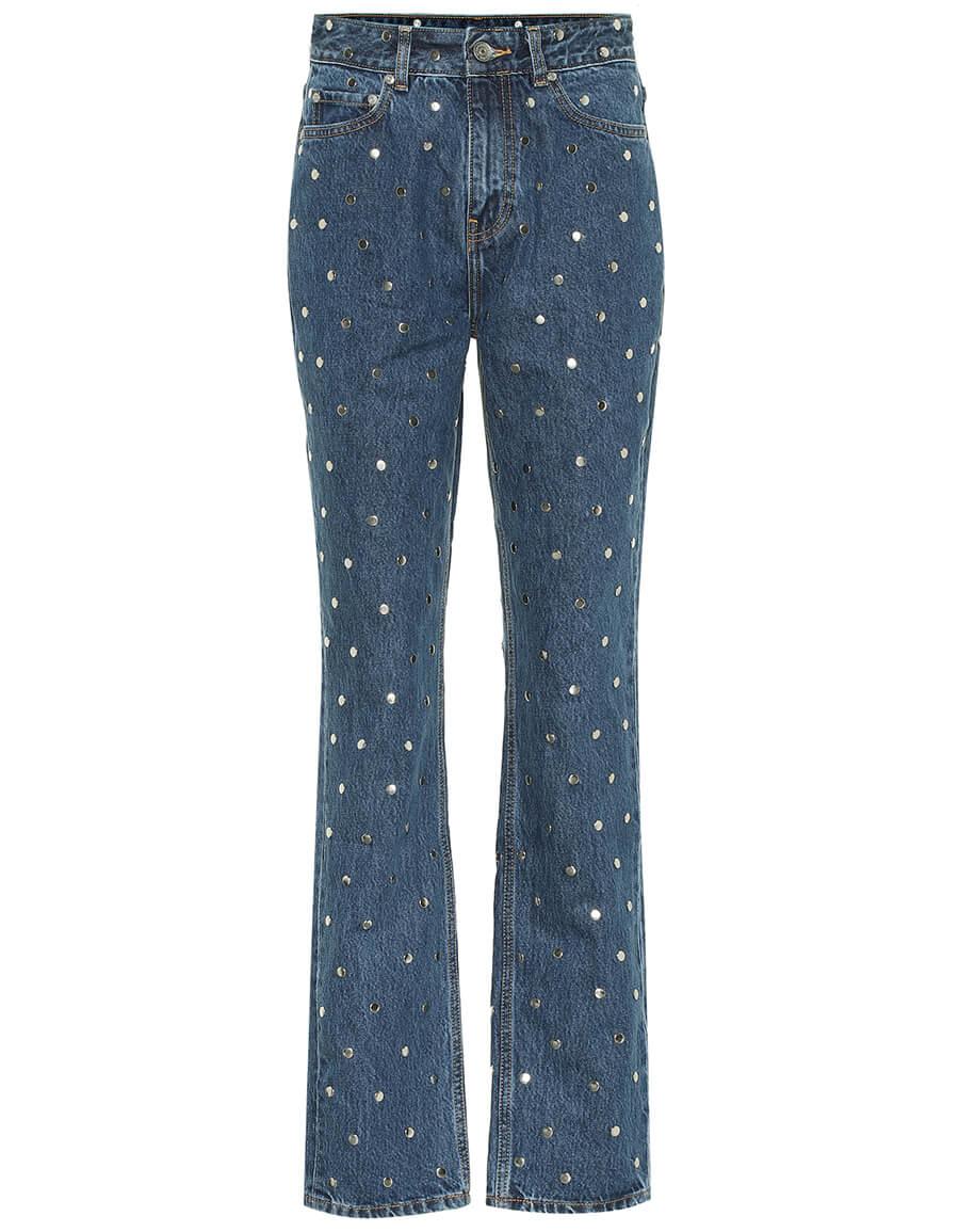 GANNI Embellished high rise straight jeans