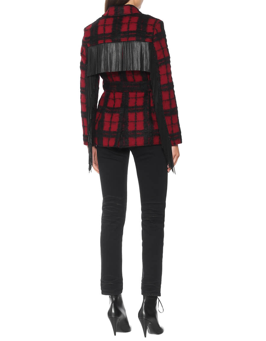 SAINT LAURENT Leather trimmed checked wool blend jacket