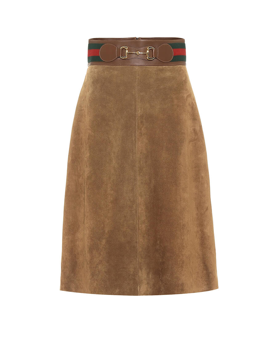 GUCCI Suede midi skirt