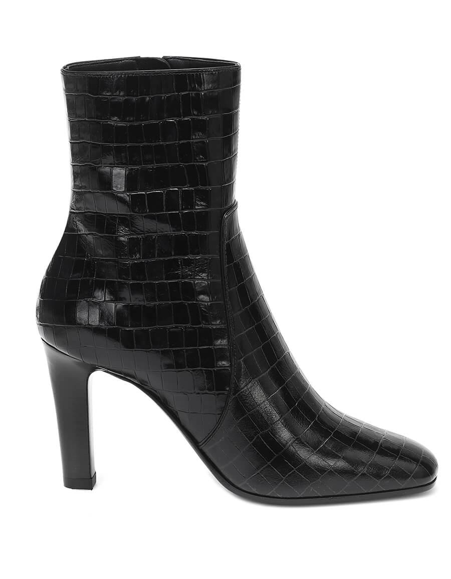 SAINT LAURENT Jane croc effect leather ankle boots