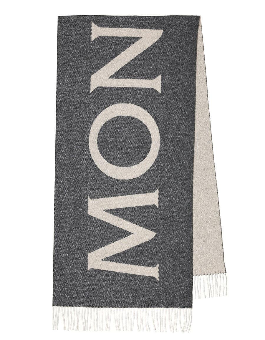 MONCLER Logo wool blend jacquard scarf