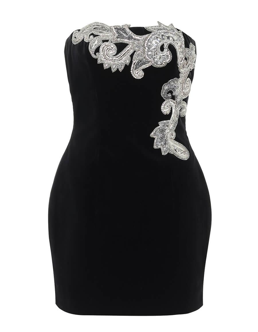 BALMAIN Embellished velvet minidress