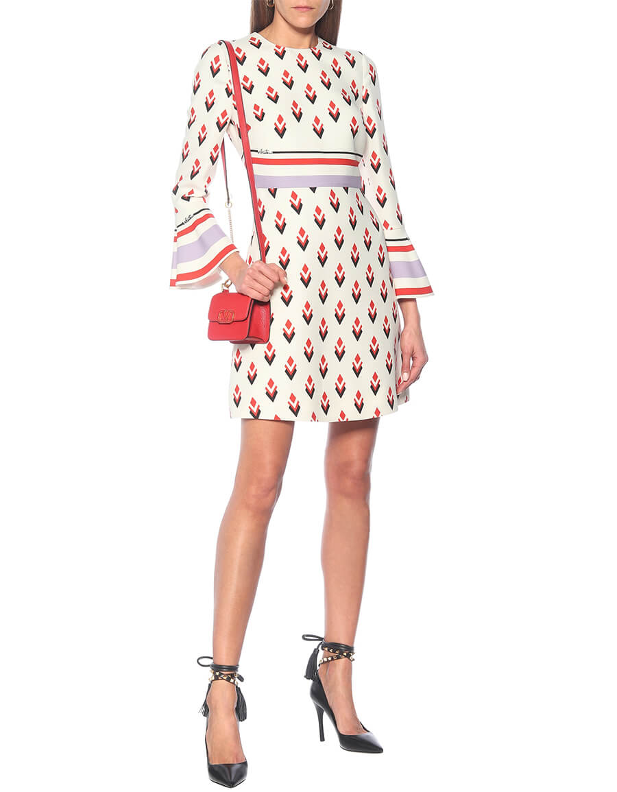 VALENTINO Printed wool and silk cady minidress