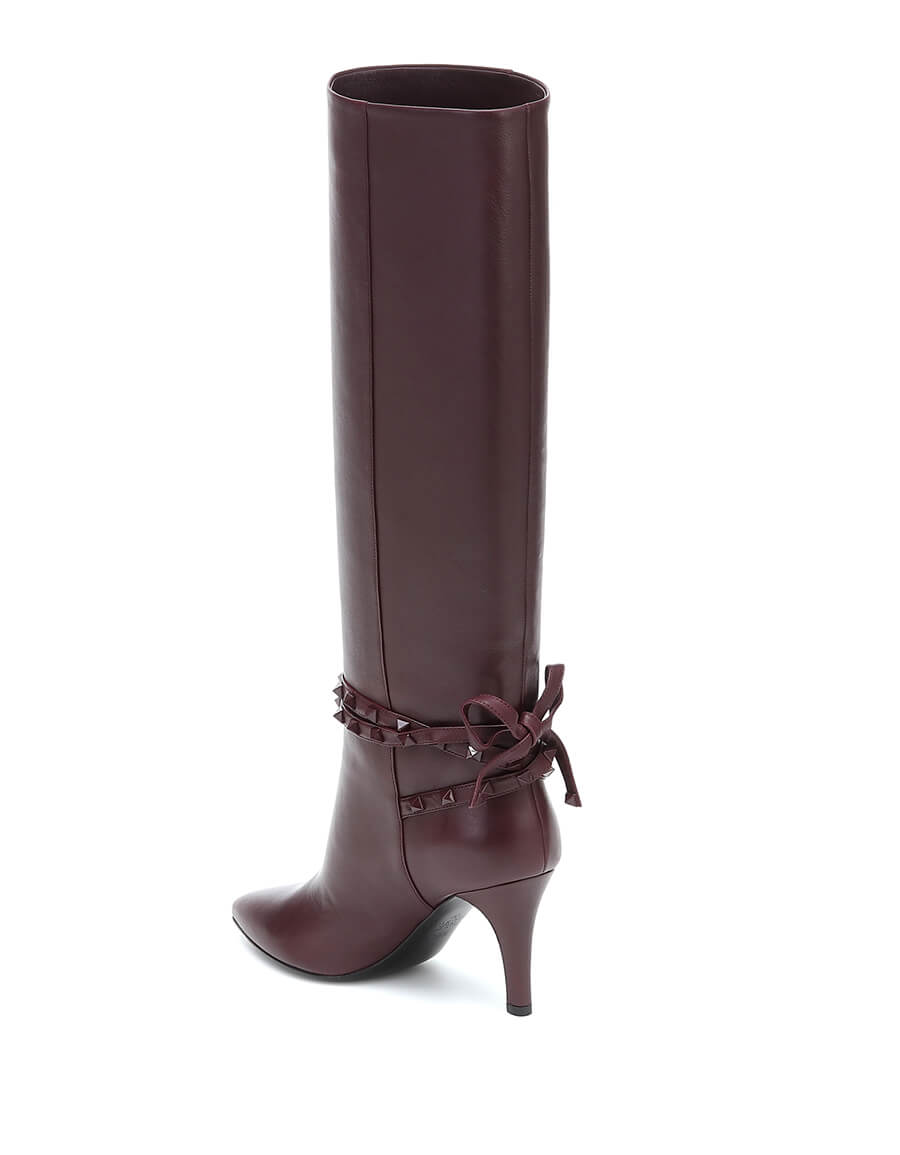 VALENTINO GARAVANI Valentino Garavani Rockstud Flair leather knee high boots