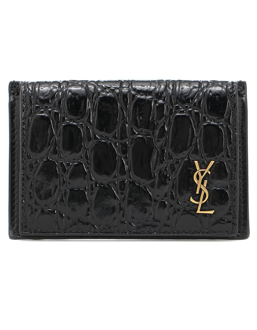 SAINT LAURENT Croc effect leather wallet