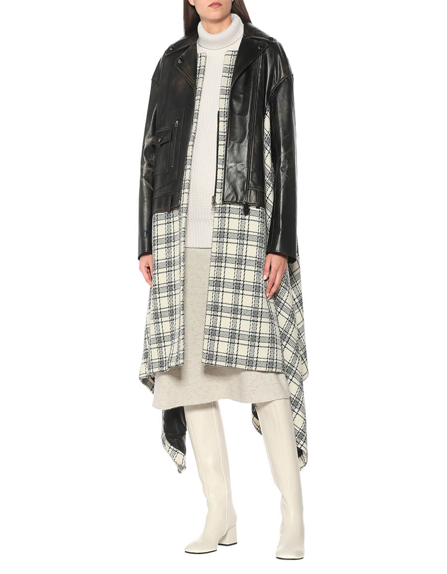 MARNI Asymmetric wool and leather coat