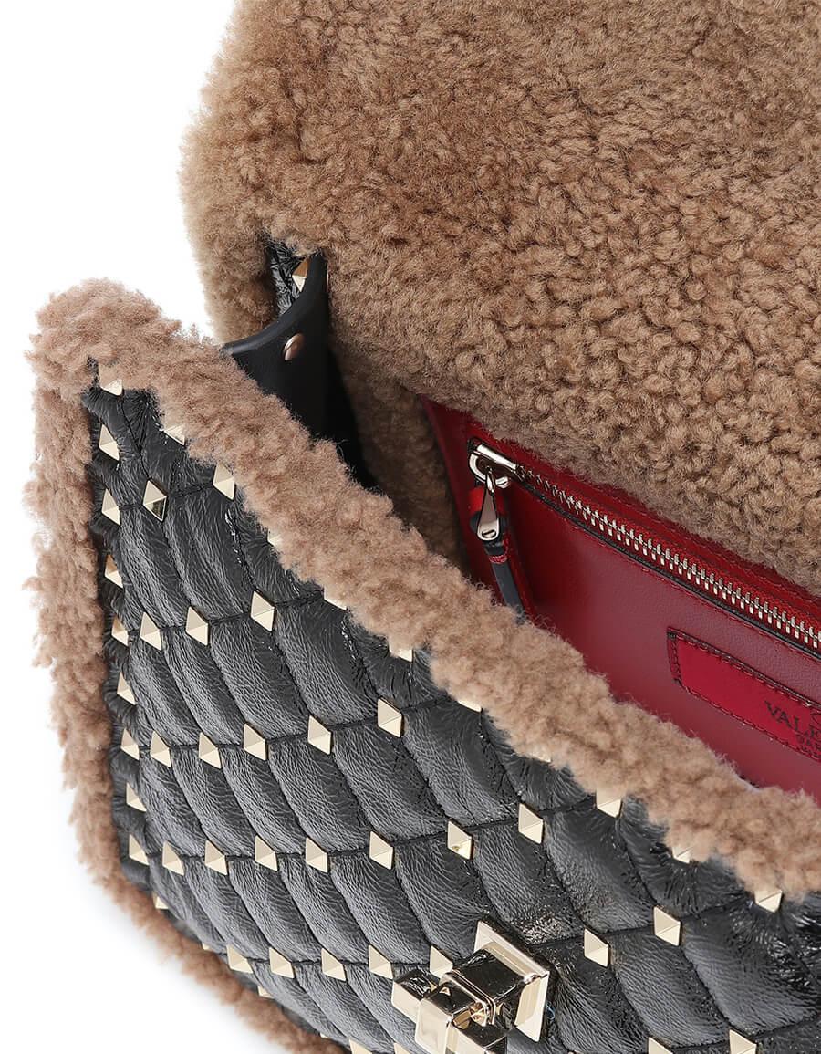 VALENTINO GARAVANI Valentino Garavani Rockstud Spike Medium shearling shoulder bag