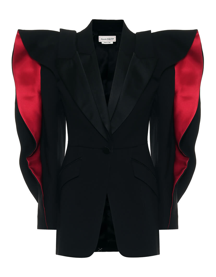 ALEXANDER MCQUEEN Ruffled wool and silk blend blazer