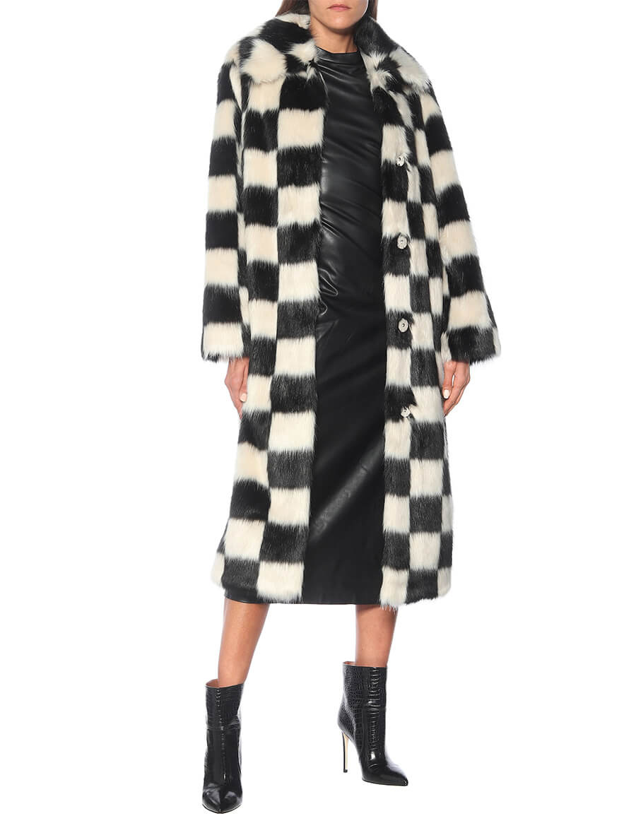 STAND STUDIO Nino checked faux fur coat