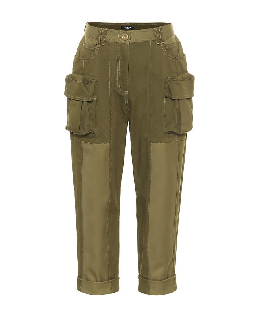 BALMAIN Stretch cotton cropped pants