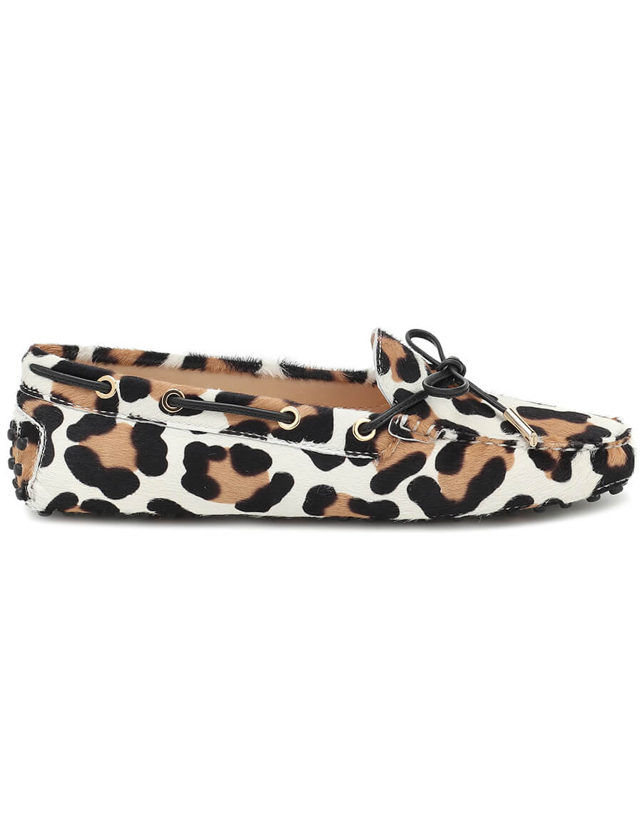 TOD'S Gommino leopard print calf hair moccasins