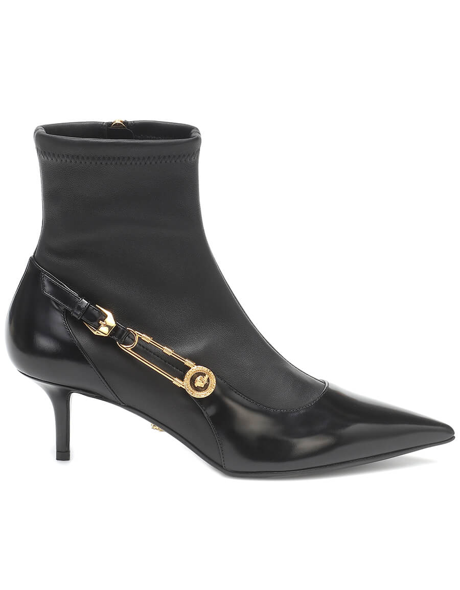 VERSACE Safety Pin leather ankle boots