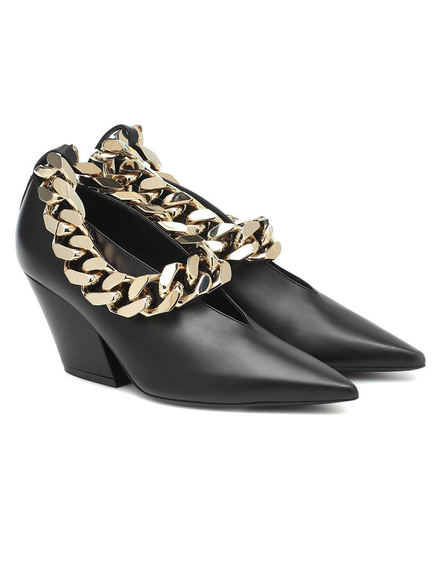 BURBERRY Chain trimmed leather pumps