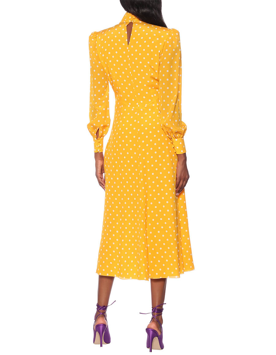 ALESSANDRA RICH Polka dot silk turtleneck dress
