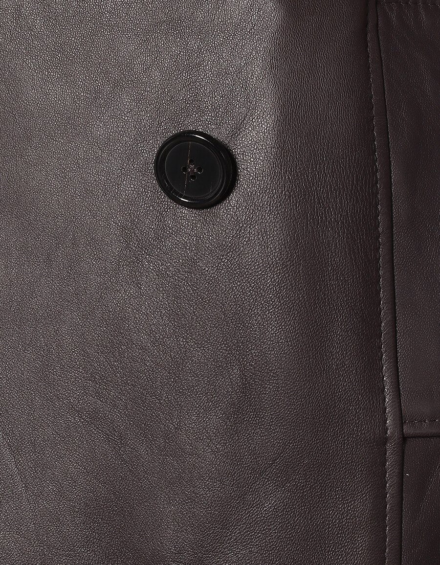 DOLCE & GABBANA Belted leather coat