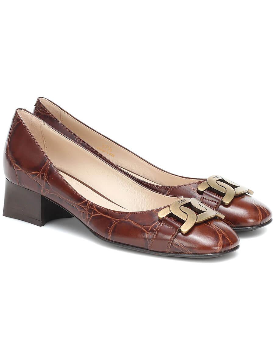 TOD'S Croc effect leather pumps