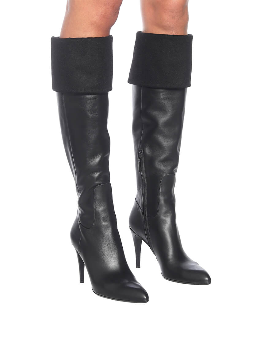 MAX MARA Bonnet knee high leather boots