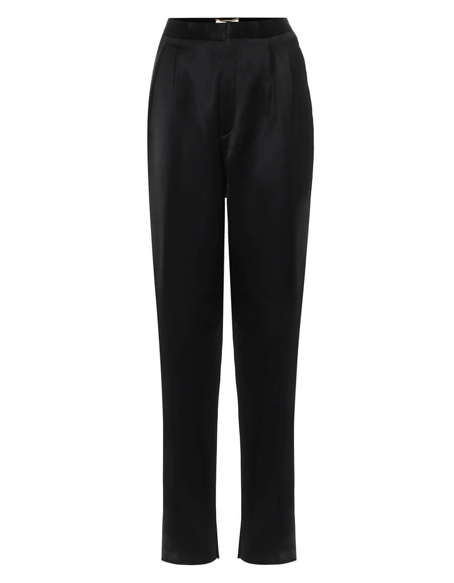 SAINT LAURENT High rise slim satin pants