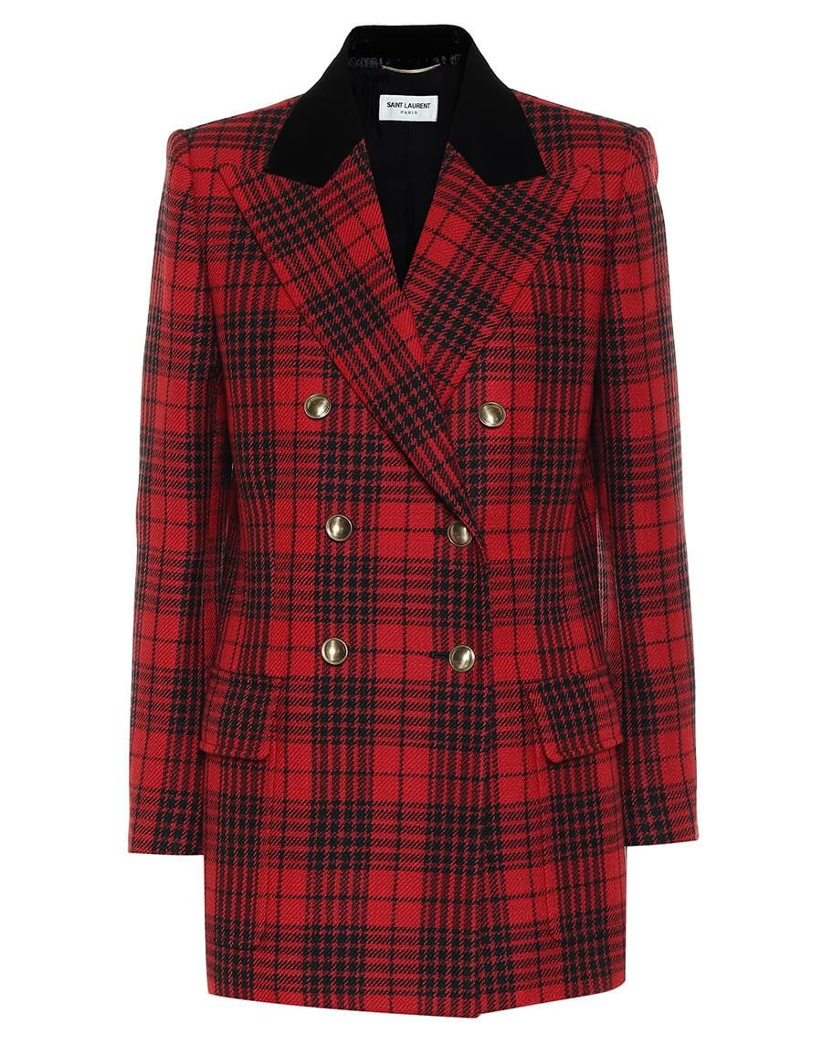 SAINT LAURENT Checked virgin wool blazer