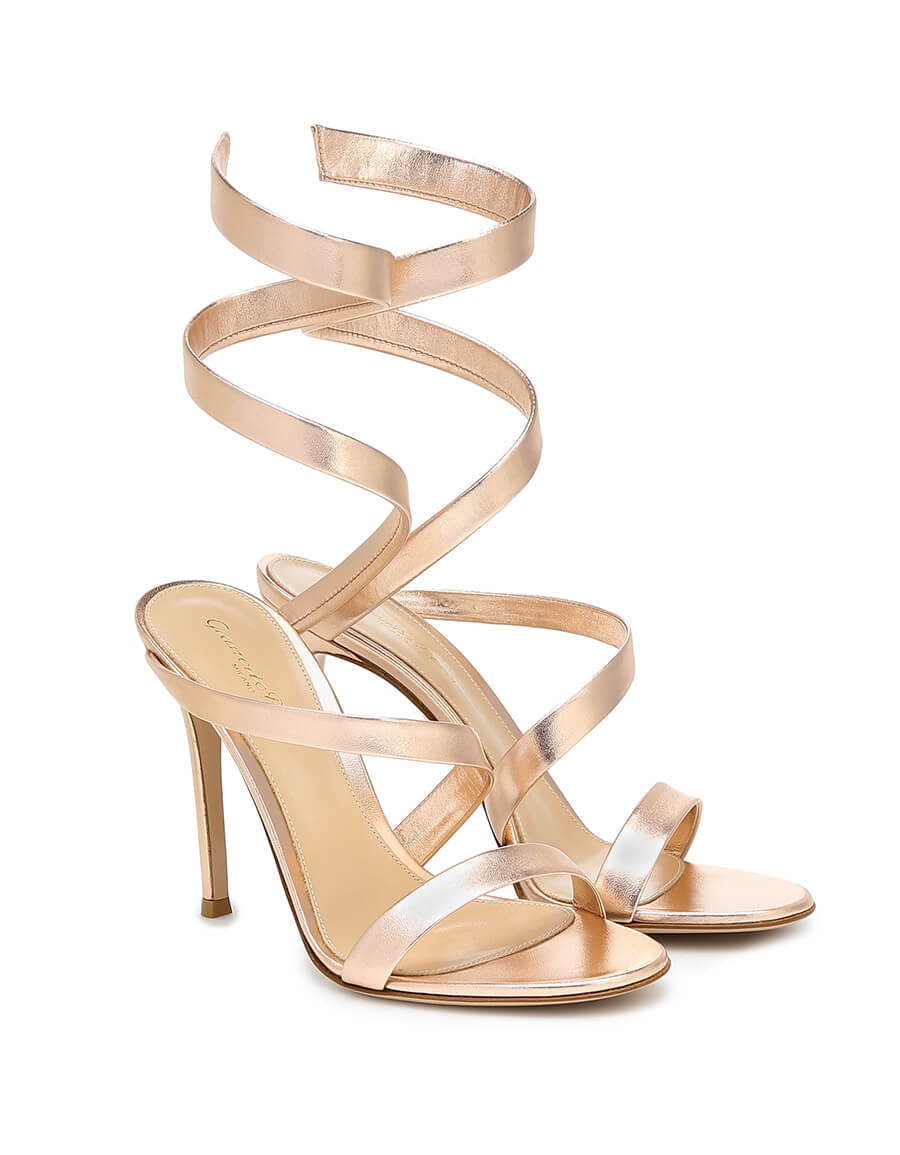 GIANVITO ROSSI Opera 105 metallic leather sandals