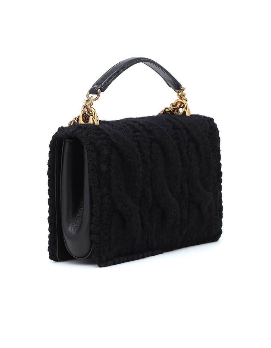 DOLCE & GABBANA Devotion Small wool and leather shoulder bag