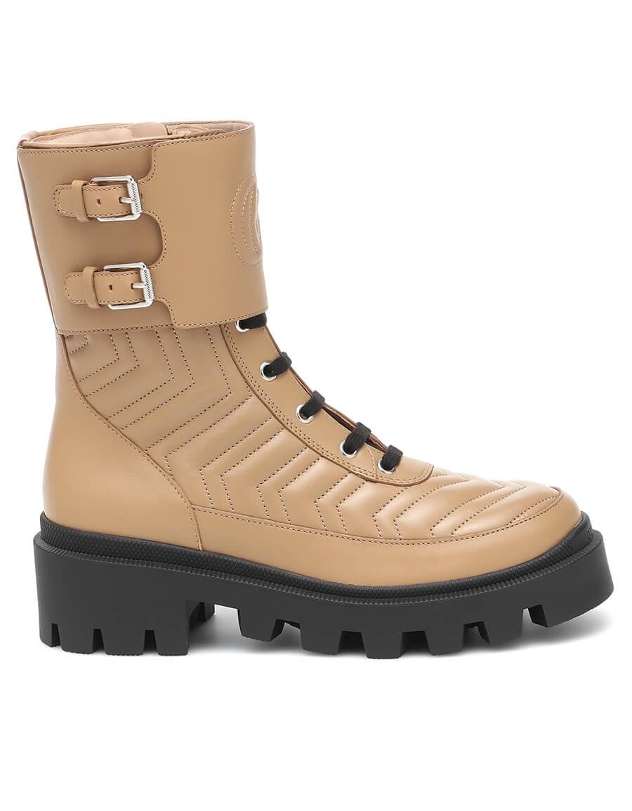 GUCCI Frances leather combat boots