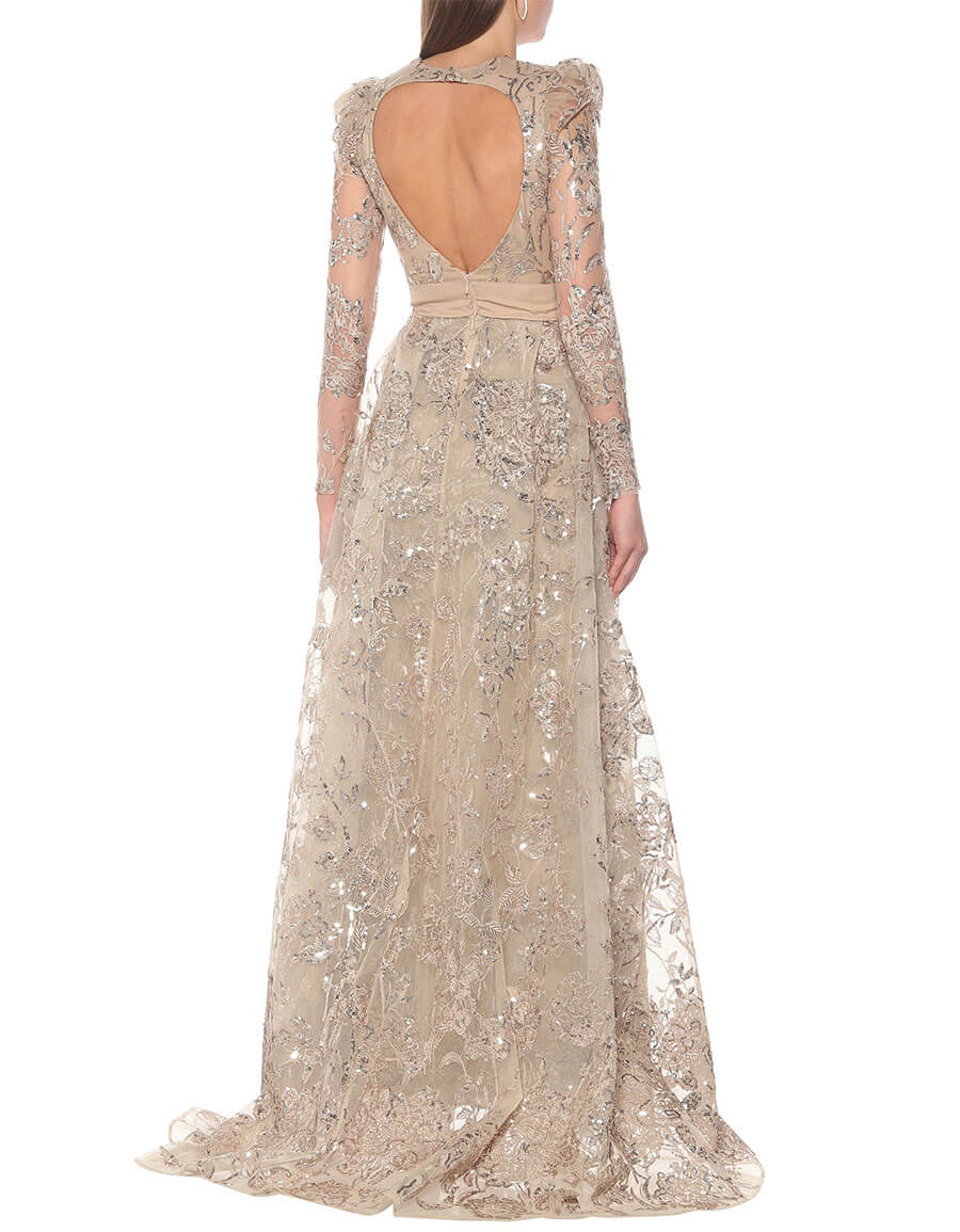 ELIE SAAB Embroidered long sleeved gown