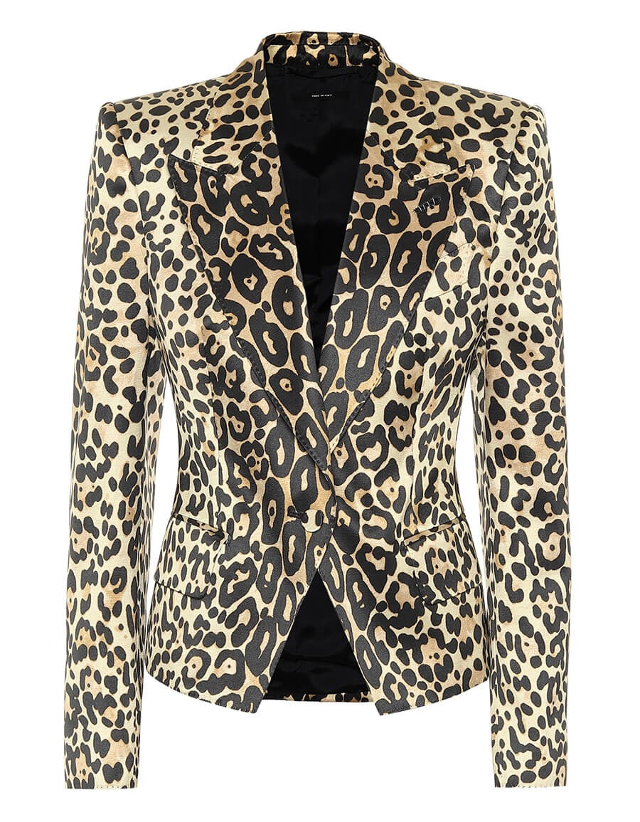 TOM FORD Leopard print cotton blend blazer