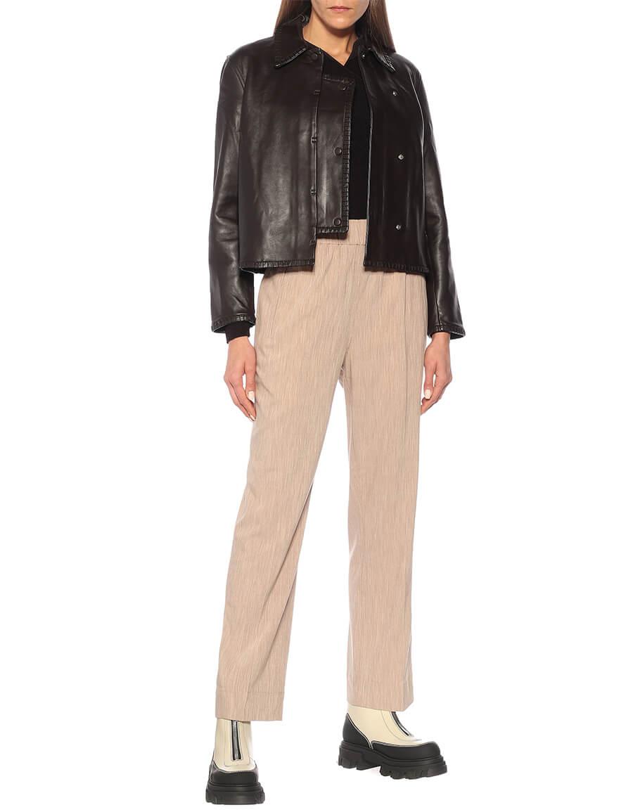GANNI Cropped leather jacket