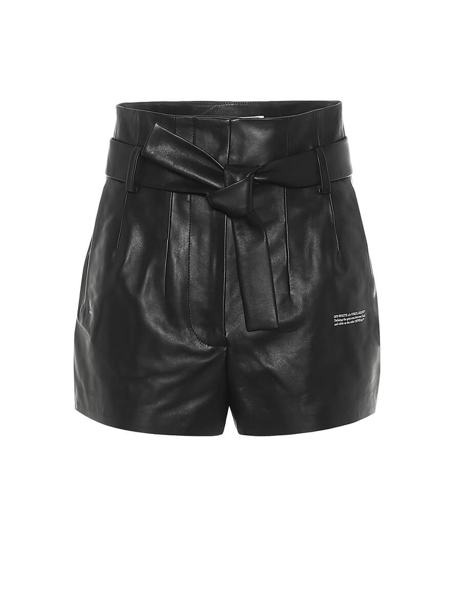 OFF WHITE High rise leather paperbag shorts
